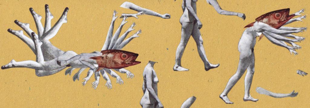 Evolutionary gap past future collage paper cut fish lady