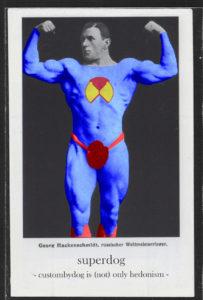 postcard custombydog fashion restyling collage superman superdog