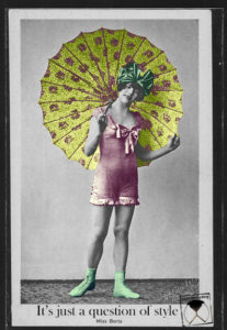 postcard custombydog fashion restyling collage parasol swimsuit